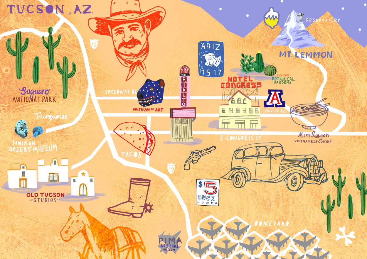 Map of Tucson Aleesha Nandhra Illustration
